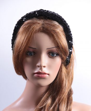 Black Sequin Padded headband Headpiece Fascinator Hat suitable for a wedding, party, or a ladies day at the races