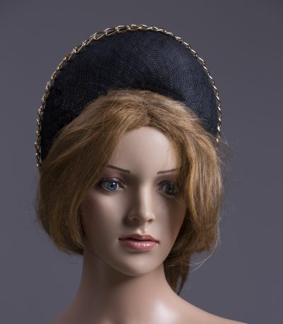 black sinamay halo crown for a wedding or the races