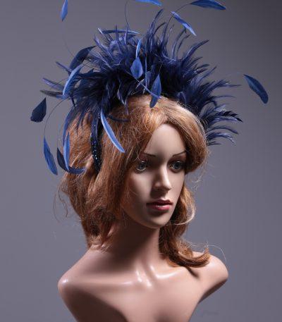 Navy Blue Feather Crown Headband Fascinator Hat