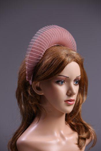 Dusky Pink Blush Halo Crown Headband with crin Fascinator Hat