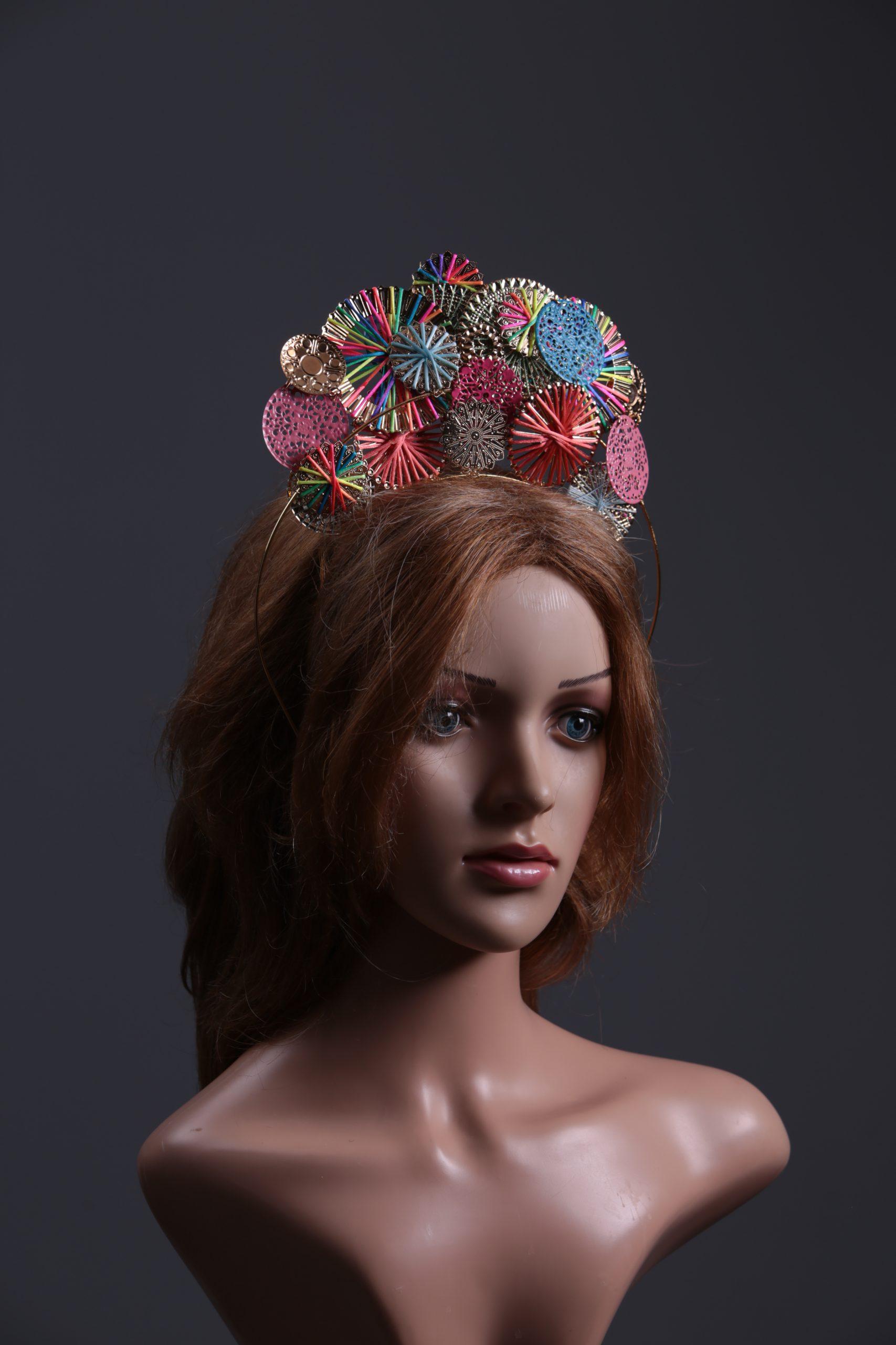 Rainbow Multi-coloured gold disc halo crown headband ...