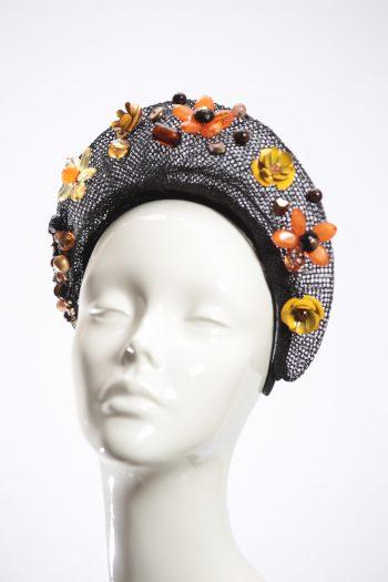 Black Mesh and orange, amber, brown beaded crown fascinator headband