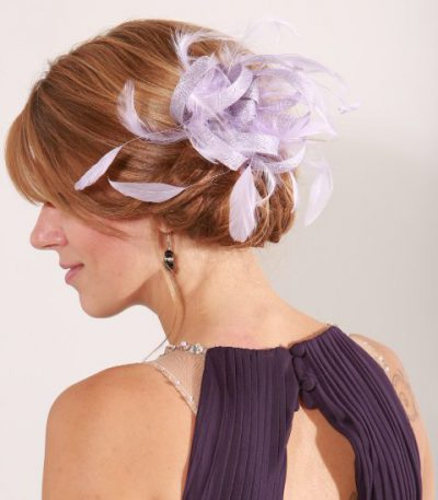 Lilac small sinamay and feather fascinator hat