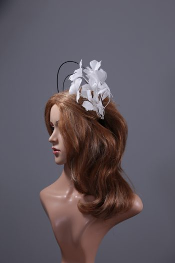 black and white feather tree double black halo crown Fascinator hat