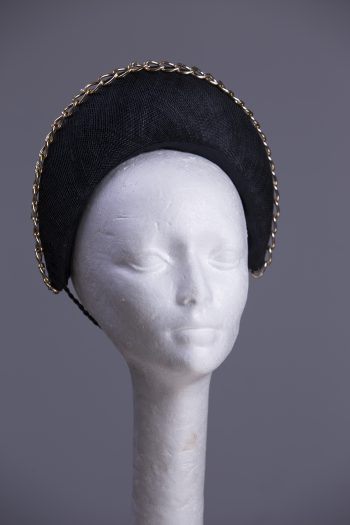 Black sinamay halo crown with gold metal chain detail Headpiece Fascinator