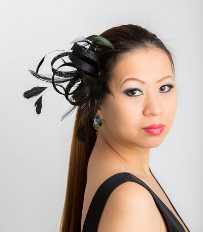 Black small sinamay and feather fascinator hat