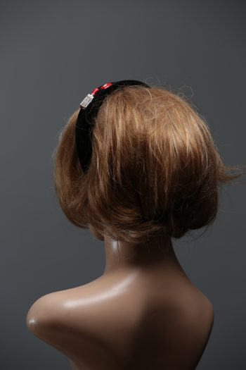 Black velvet Padded crown fascinator headband with lipstick and lips/kiss gems