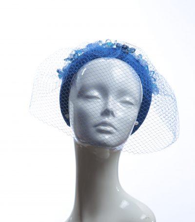 Electric royal blue beaded veil Fascinator Hat Headband handmade and padded