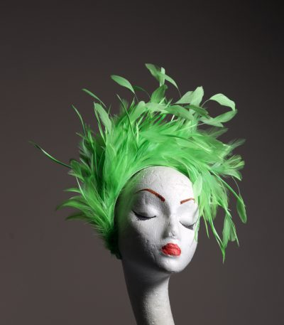 Lime Green Feather Crown Headband Fascinator Hat