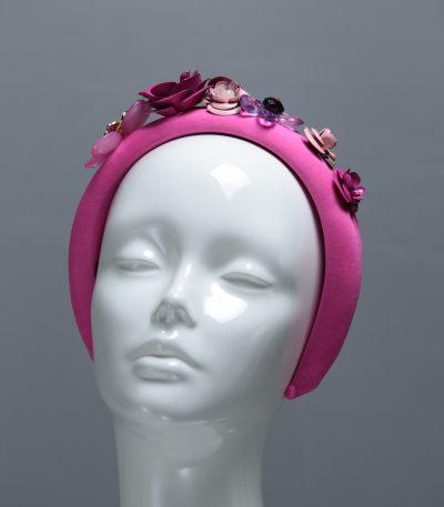 mid pink flower metal beaded headbands