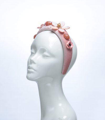 Dusky Pink Velvet Padded beaded Fascinator Hat Headband handmade