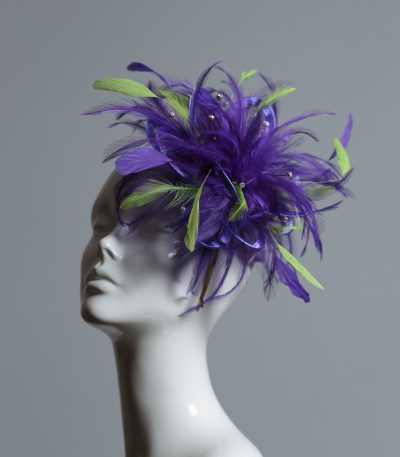 purple and acid lime green small feather fascinator hat