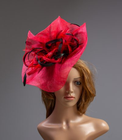 red and black loopand feather sinamay fascinator hat (1)