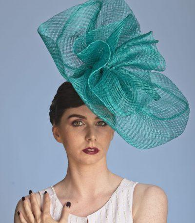 teal green large sinamay hat 1