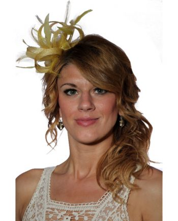 Yellow small sinamay and feather fascinator hat