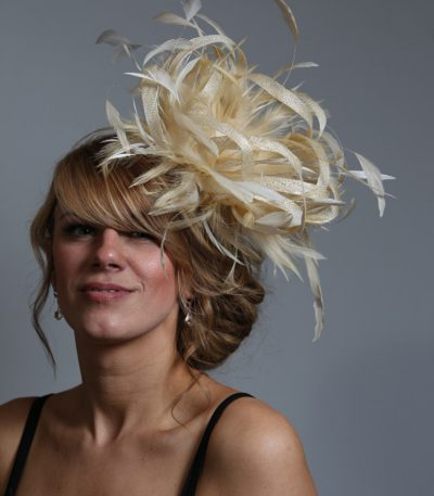 Cream sinamay and feather large fascinator hat (11)