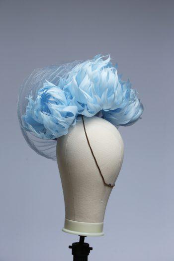 baby blue and cornflower crin percher saucer fascinator hat