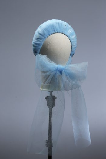 baby blue tulle halo crown with bow fascinator hat