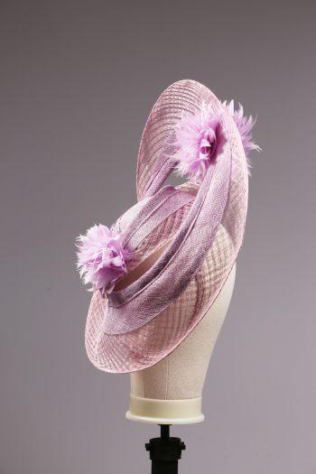 lilac loop windowpane fascinator hatinator hat