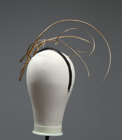 Gold floating quill faux leather headband fascinator hat