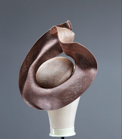Taupe Nude and Mink Sinimay Saucer set on a button pillbox fascinator hat